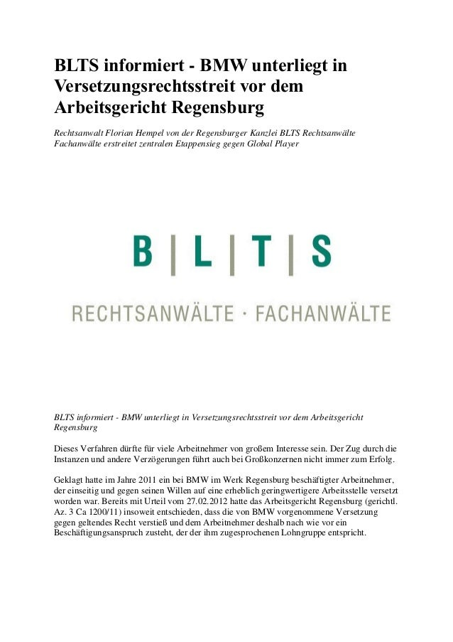 BLTS informiert - BMW unterliegt in Versetzungsrechtsstreit vor dem Arbeitsgericht Regensburg Rechtsanwalt Florian Hempel ...