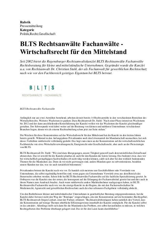 Rubrik Pressemitteilung Kategorie Politik,Recht,Gesellschaft  BLTS Rechtsanwälte Fachanwälte Wirtschaftsrecht für den Mitt...