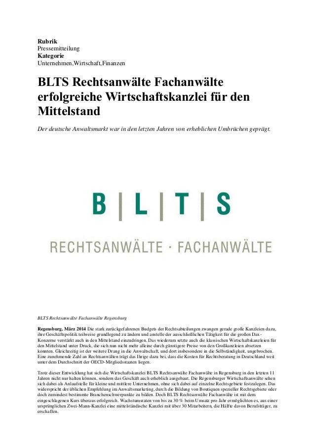 Rubrik Pressemitteilung Kategorie Unternehmen,Wirtschaft,Finanzen  BLTS Rechtsanwälte Fachanwälte erfolgreiche Wirtschafts...