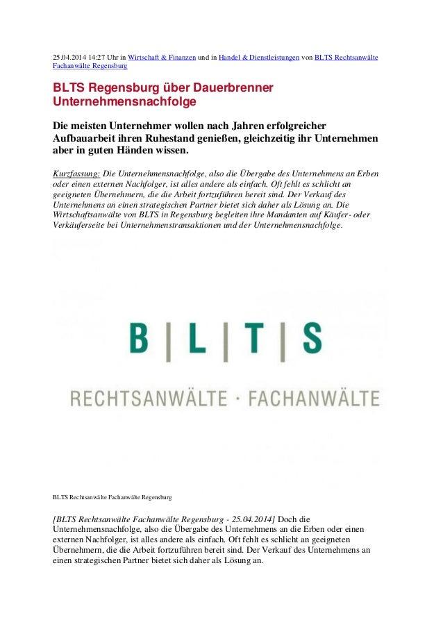 25.04.2014 14:27 Uhr in Wirtschaft & Finanzen und in Handel & Dienstleistungen von BLTS Rechtsanwälte Fachanwälte Regensbu...