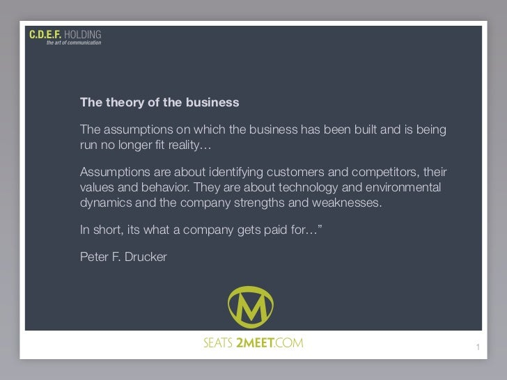 The theory of the business  The assumptions on which the business has been built and is being run no longer fit reality…  A...