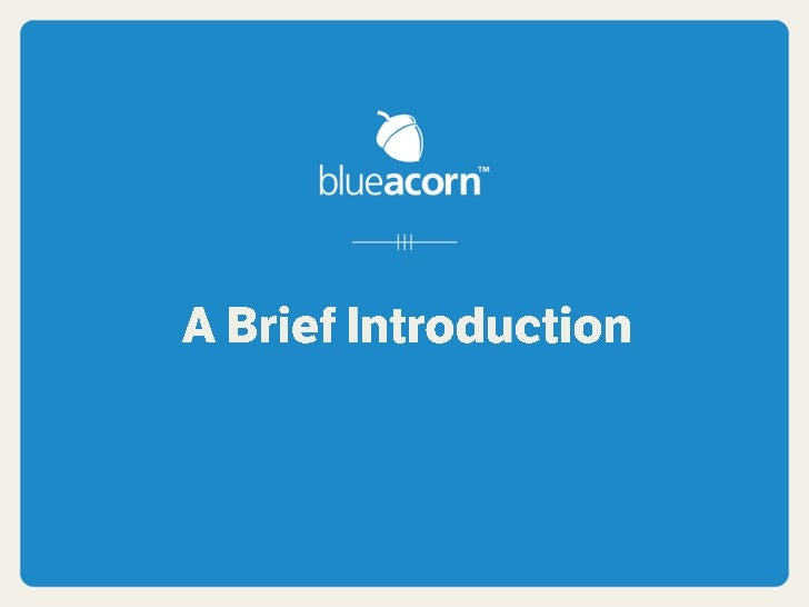 Blue Acorn Introduction