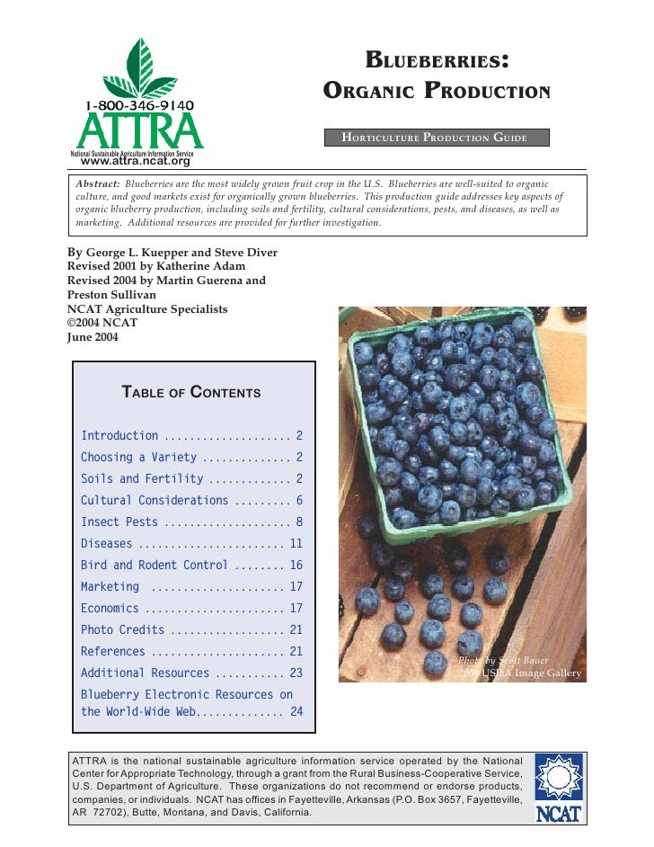BLUEBERRIES:                                                             ORGANIC PRODUCTION                               ...