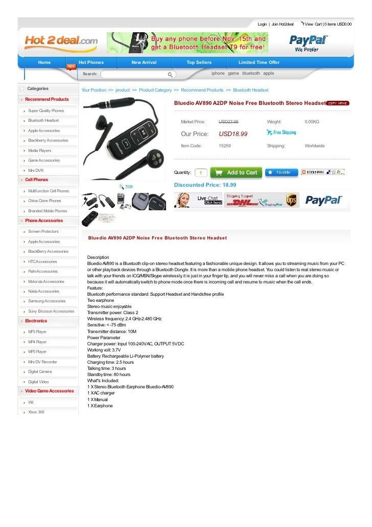 Bluedio AV890 A2 DP Noise Free Bluetooth Stereo Headset
