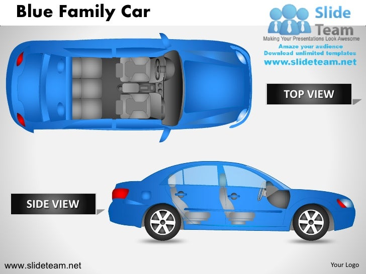 Blue family car vehicle transportation top view powerpoint ppt slides.