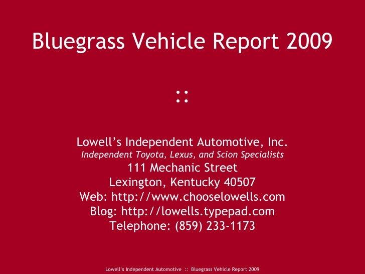 Bluegrass Vehicle Report 2009