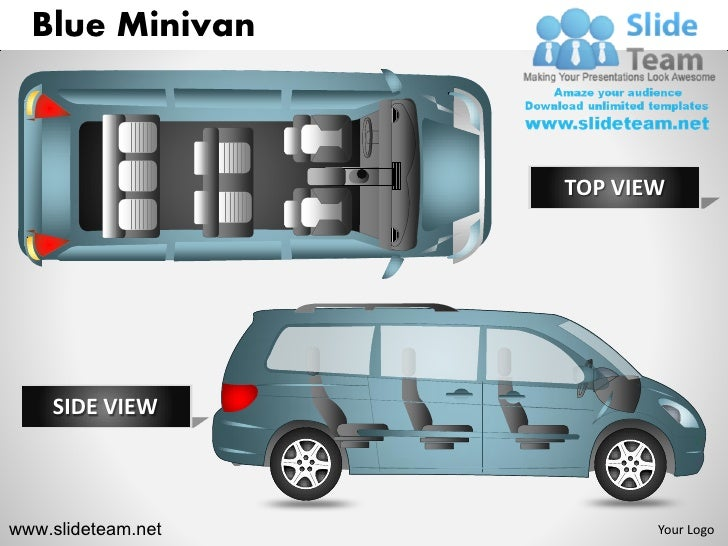 Blue Minivan                    TOP VIEW    SIDE VIEWwww.slideteam.net          Your Logo