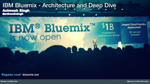Meetup.com/Bluemix Meetup.com/CloudFoundry IBM Bluemix - Architecture and Deep Dive! Animesh Singh @animeshsingh Register ...