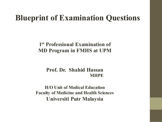 Blueprint of Examination Questions 1st Professional Examination of MD Program in FMHS at UPM Prof. Dr. Shahid Hassan MHPE ...