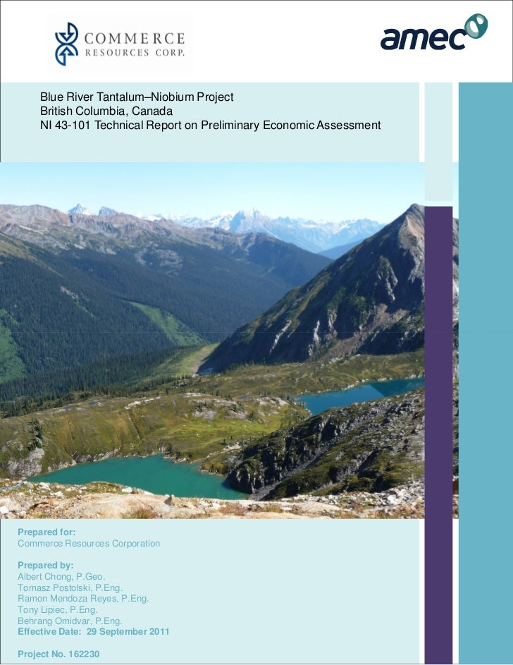 Technical Report: Blue River Tantalum and Niobium Project (Preliminary Economic Assessment)