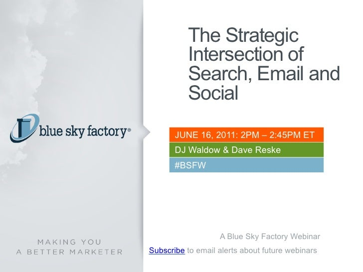 The Strategic          Intersection of          Search, Email and          Social       JUNE 16, 2011: 2PM – 2:45PM ET    ...
