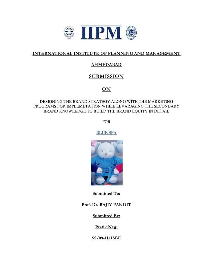 Blue Spa [Brand Management]   Pratik Negi