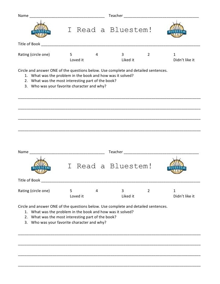 Bluestem student log