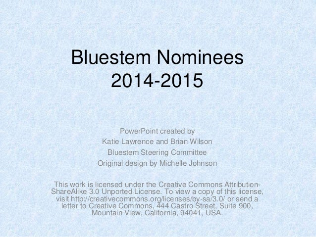 Bluestem nominees2014 15