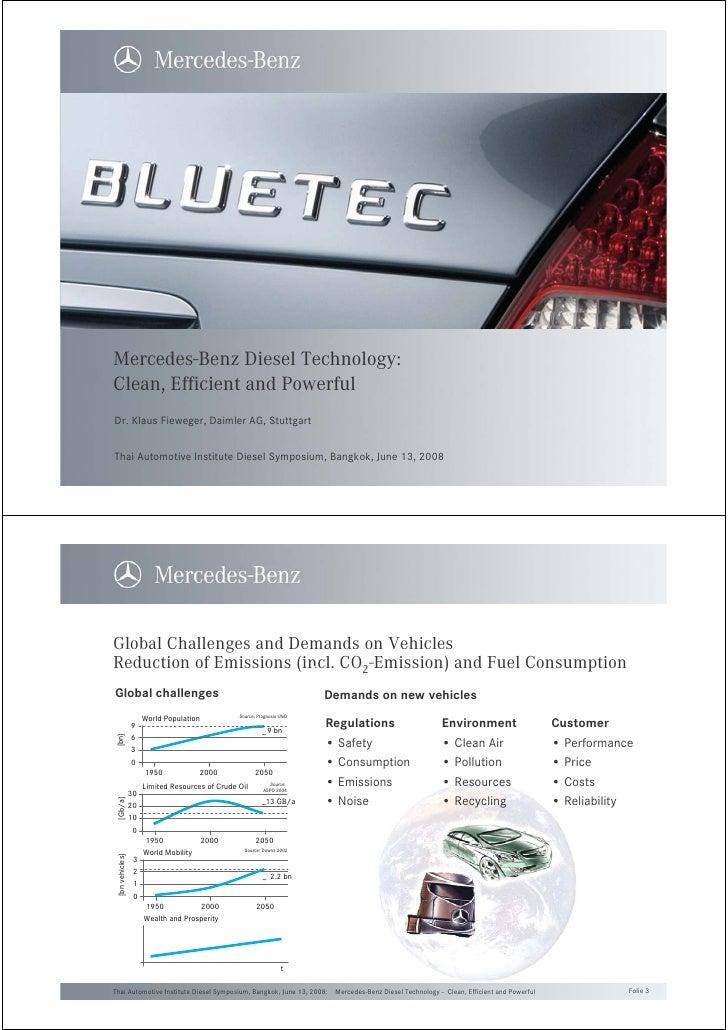 Mercedes-Benz Diesel Technology: Clean, Efficient and Powerful Dr. Klaus Fieweger, Daimler AG, Stuttgart   Thai Automotive...