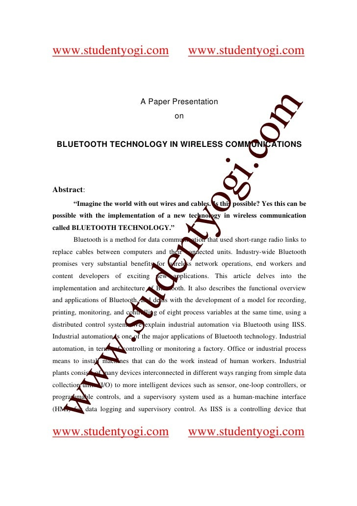 Bluetooth Technology In Wireless Communications