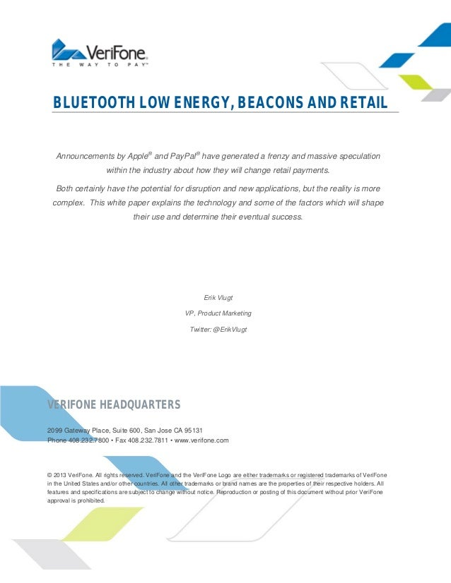 Bluetooth Low Energy, Beacons and Retail - A VeriFone White Paper