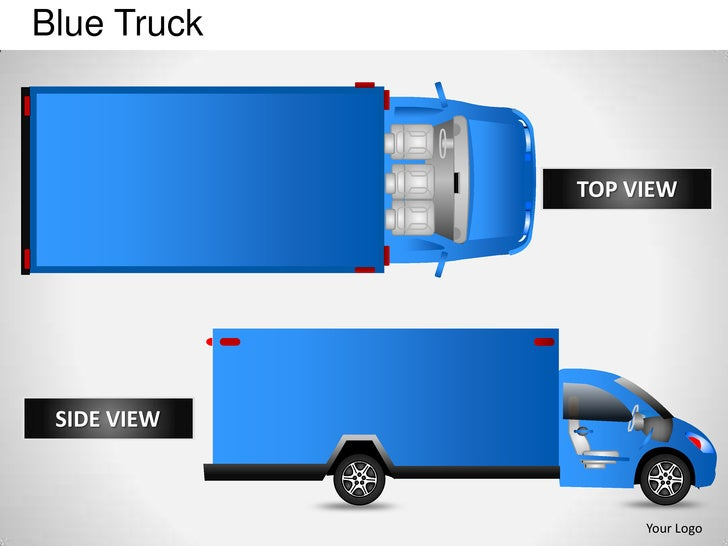 Blue truck side view powerpoint presentation templates