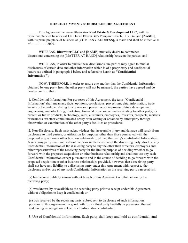NONCIRCUMVENT/ NONDISCLOSURE AGREEMENT            This Agreement between Bluewater Real Estate & Development LLC, with its...