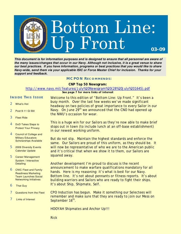 Bottom Line:                                Up Front                                                         03-09     Thi...