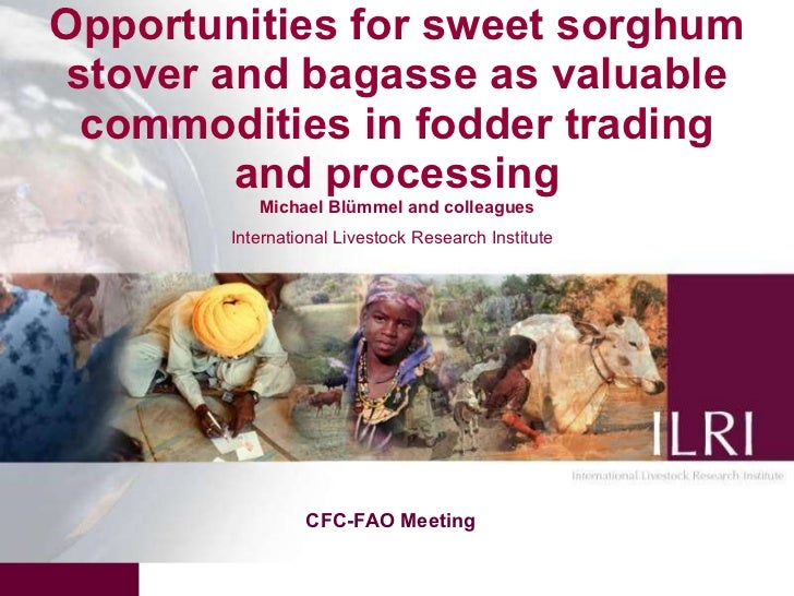 Opportunities for sweet sorghum stover and bagasse as valuable commodities in fodder trading and processing Michael Blümme...