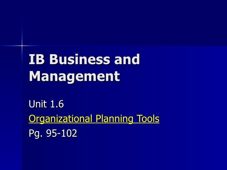 Bm 1.6 Organizational Planning Tools