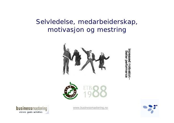 Selvledelse, medarbeiderskap,    motivasjon og mestring               www.businessmastering.no