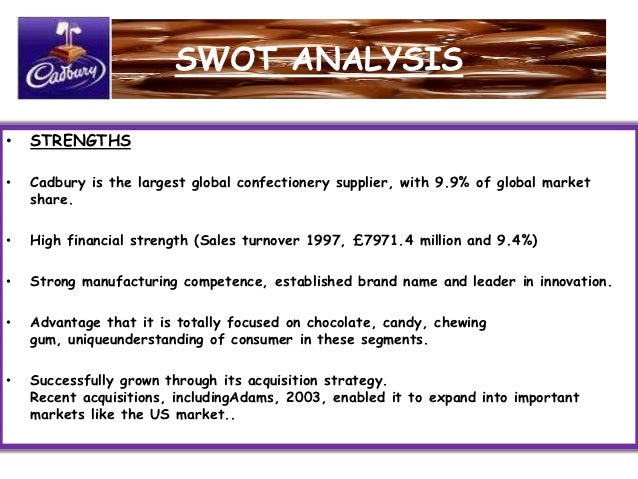 market analysis of cadbury Cadbury is the market leader in the uk and ireland, in particular with its brand dairy milk, while in continental europe it is mainly active in france, poland, romania and portugal, through local brands which it previously acquired (european commission, 2010) kraft food welcomed the merger with cadbury with the following statement: the.