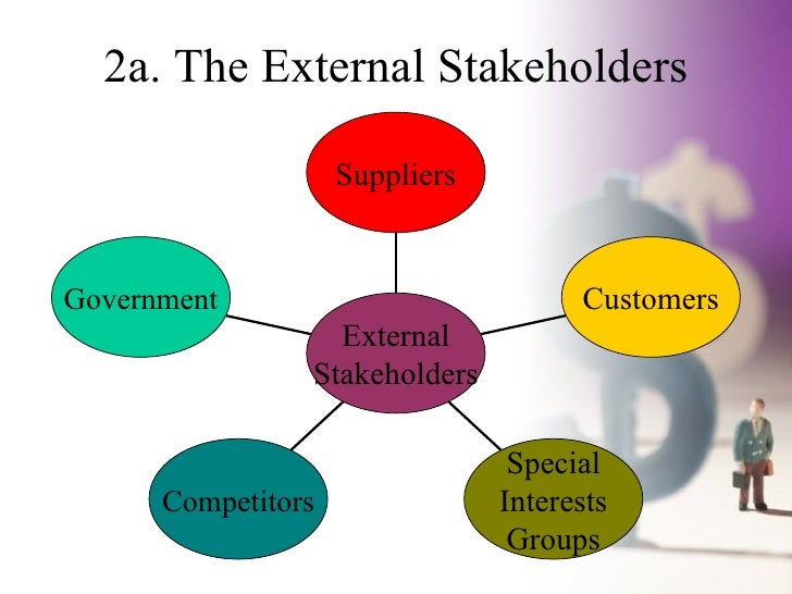internal and external business stakeholders essay Internal and external stakeholder analysis essay enterprises stakeholder- a person, group of organizations that has interest or affect the organization or with reasonable interest to a given situation or enterprise stakeholder analysis- tools to identify the needs and concern of various stakeholders.