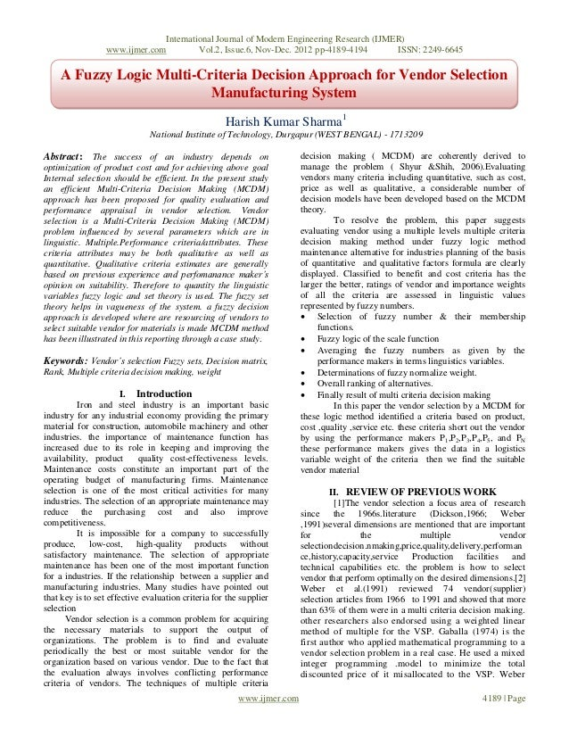 A Fuzzy Logic Multi-Criteria Decision Approach for Vendor Selection Manufacturing System