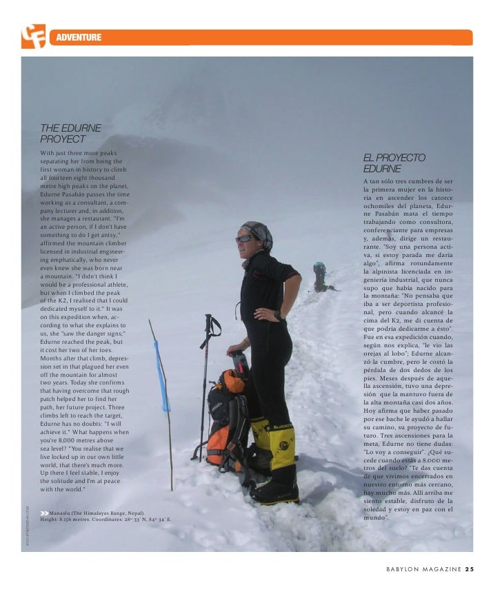 ADVENTURE                          THE EDURNE                      PROYECT                      With just three more peaks...