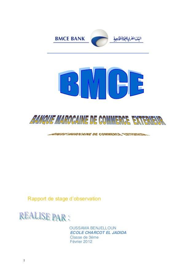 1 Rapport de stage d'observation OUSSAMA BENJELLOUN ECOLE CHARCOT EL JADIDA Classe de 3éme Février 2012