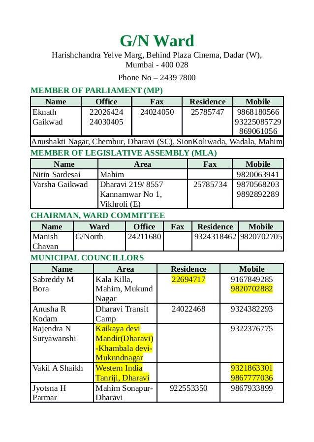 G/N WardHarishchandra Yelve Marg, Behind Plaza Cinema, Dadar (W),Mumbai - 400 028Phone No – 2439 7800MEMBER OF PARLIAMENT ...