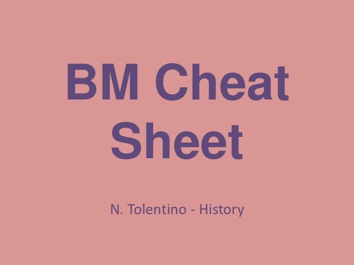 BM Cheat Sheet N. Tolentino - History