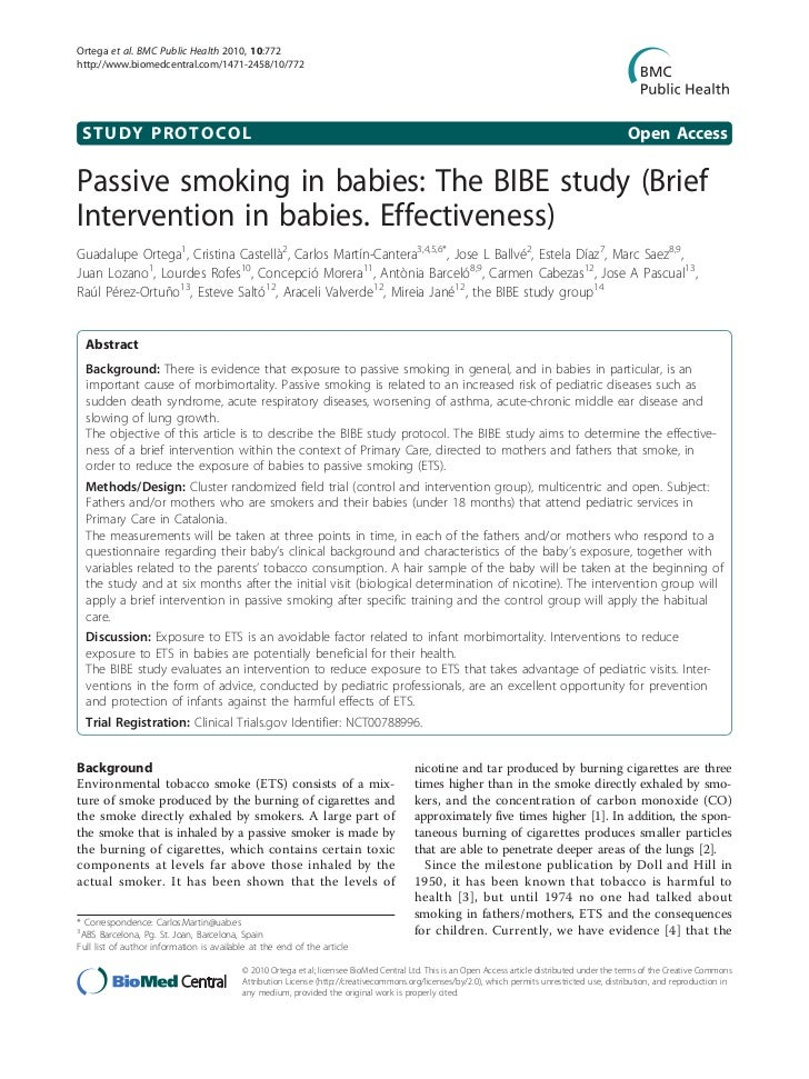 Bmc public health passive smoking in babies