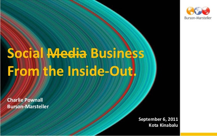 Social Media BusinessFrom the Inside-Out.Charlie PownallBurson-Marsteller                    September 6, 2011            ...