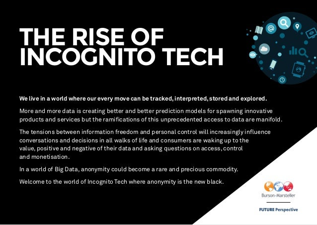THE RISE OF INCOGNITO TECH We live in a world where our every move can be tracked, interpreted, stored and explored. More ...