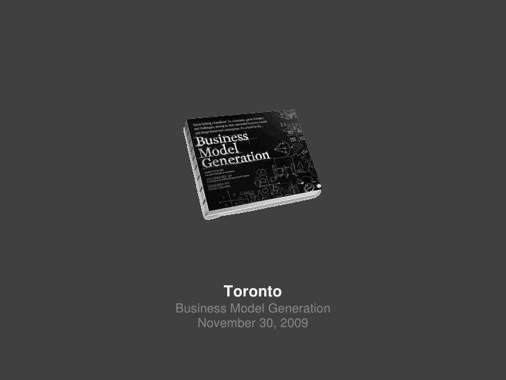 Business Model Generation Toronto (#bmgenTO)