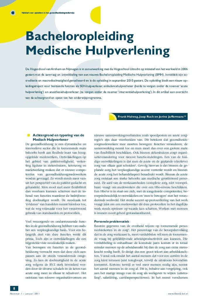 Vakblad voor opleiders in het gezondheidszorgonderwijs           Bacheloropleiding           Medische Hulpverlening       ...