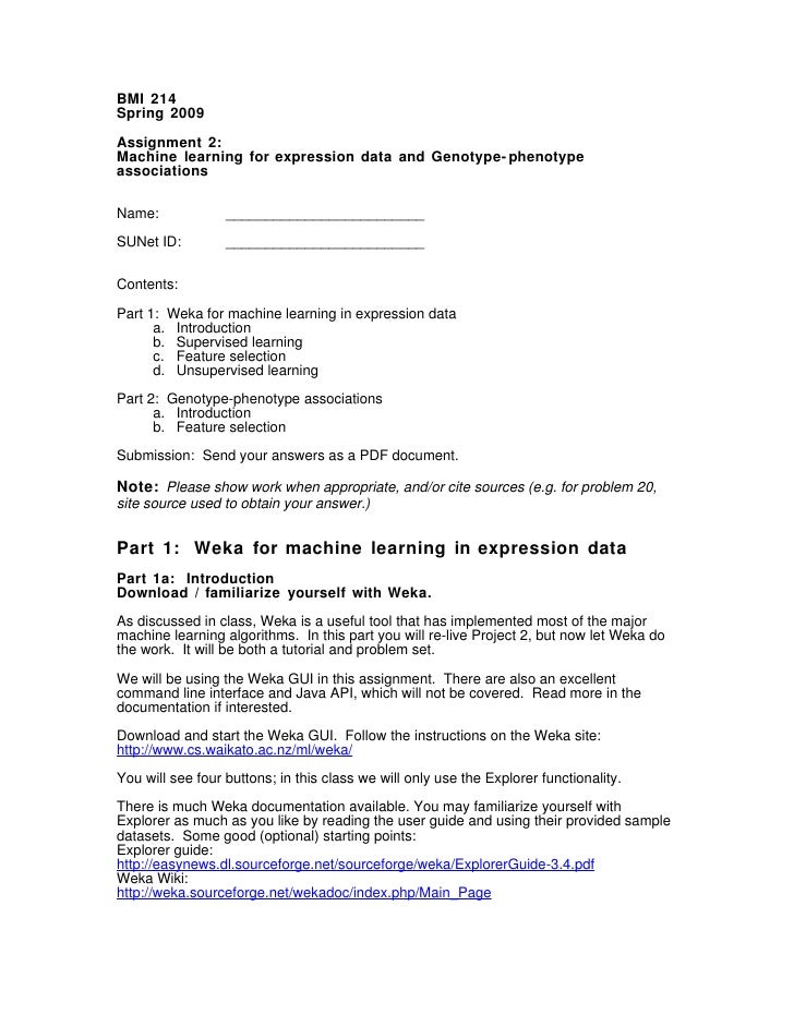BMI 214 Spring 2009  Assignment 2: Machine learning for expression data and Genotype- phenotype associations   Name:      ...