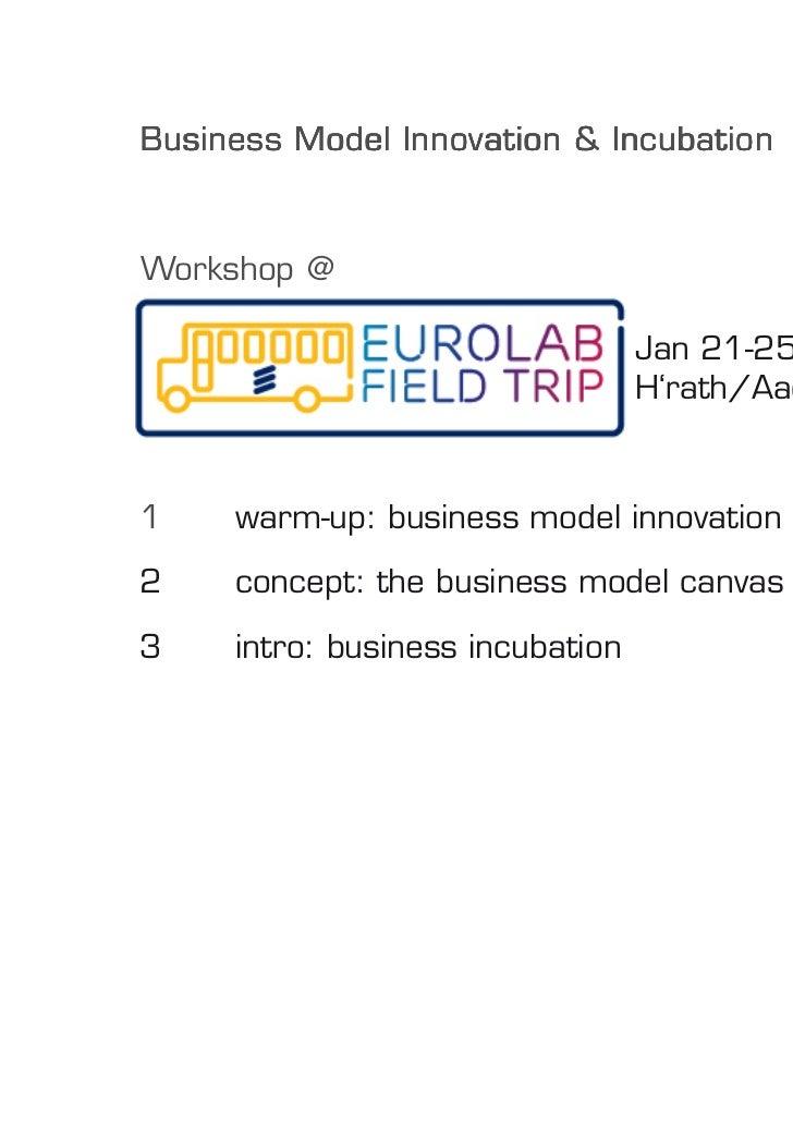Business Model Innovation & Incubation    Workshop @                                      Jan 21-25, 2012,                ...