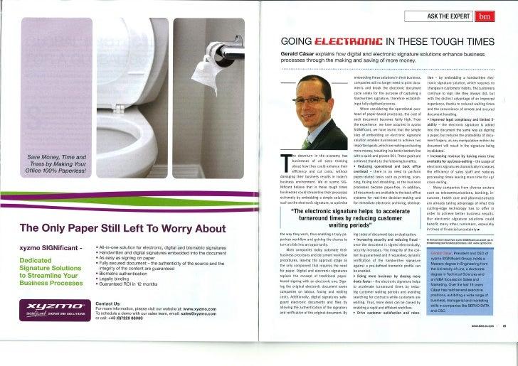 xyzmo in BM Magazine
