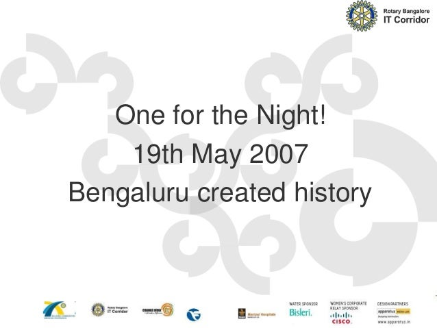One for the Night! 19th May 2007 Bengaluru created history