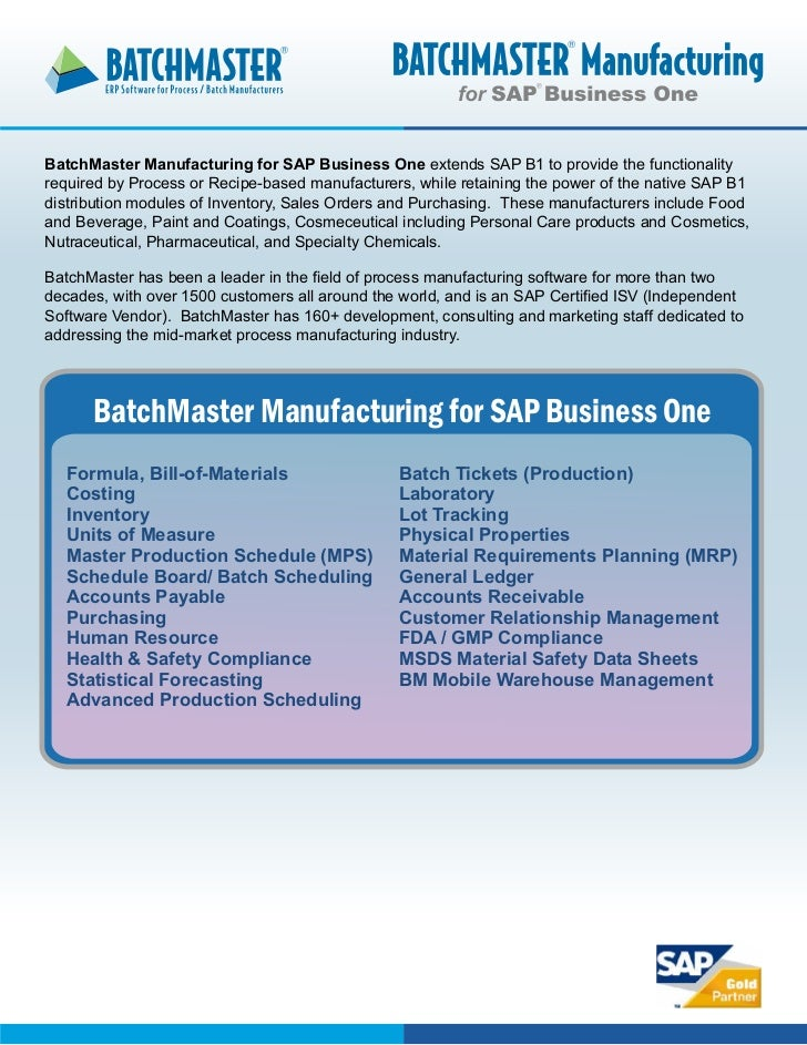 Process or Recipe-based Manufacturing for SAP Business One