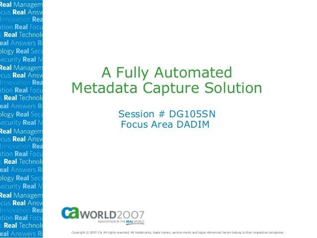Fully Automated SOA ETL Metadata Capture Soln