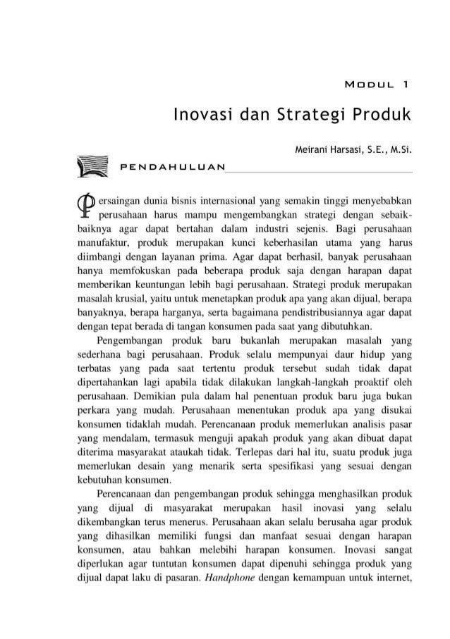 MODUL 1 lnovasi dan Strategi Produk Meirani Harsasi, S.E., M.Si. PENDAHULUAN .,._... ersaingan dunia bisnis internasional ...