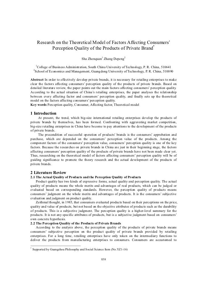 Research on the Theoretical Model of Factors Affecting Consumers'                   Perception Quality of the Products of ...