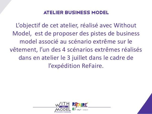 Atelier Business Model  L'objectif de cet atelier, réalisé avec Without Model, est de proposer des pistes de business    m...