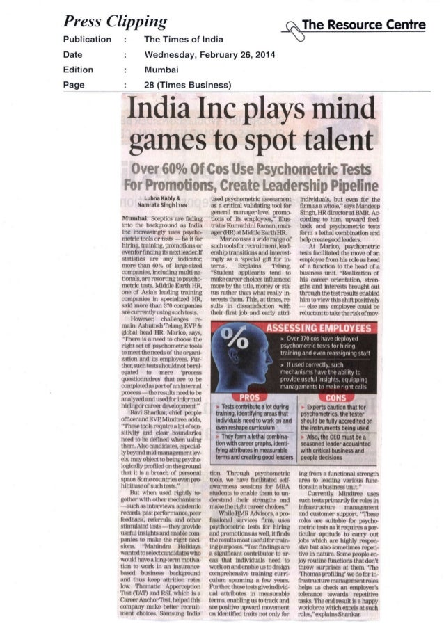 Mind Games to Spot Talent (Published in Times of India)