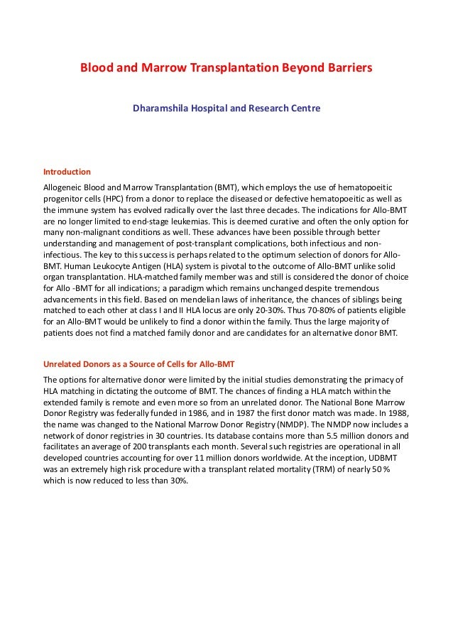 Blood and Marrow Transplantation Beyond Barriers Dharamshila Hospital and Research Centre  Introduction Allogeneic Blood a...